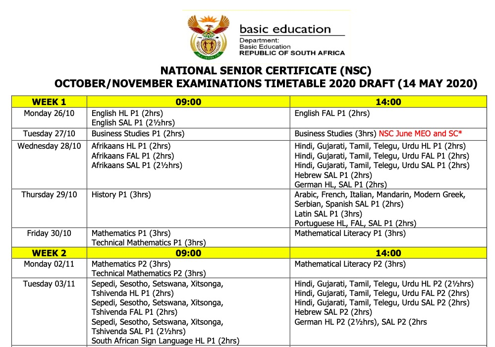 Grade 12 Final Updated Exam Timetable for 2020